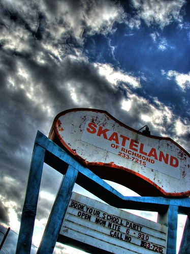 blue urban sign clouds canon virginia is decay skating richmond powershot va 80s skate roller rink 70s inline recreation 1970s 1001nights 1980s hdr roygbiv s5 skateland goldenglobe 3xp photomatix allskate aplusphoto qualitypixels