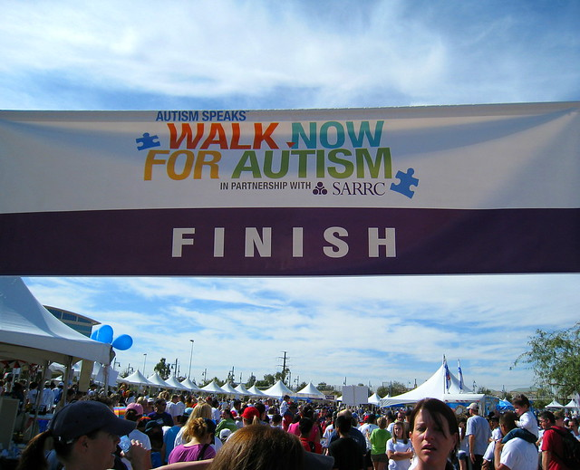 Autism Walk Finish Line by  Dru Bloomfield