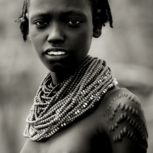 Daasanetch girl with scarifications - Ethiopia