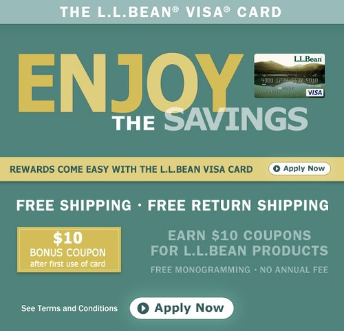 L.L.Bean Visa Credit Card offers free shipping and more