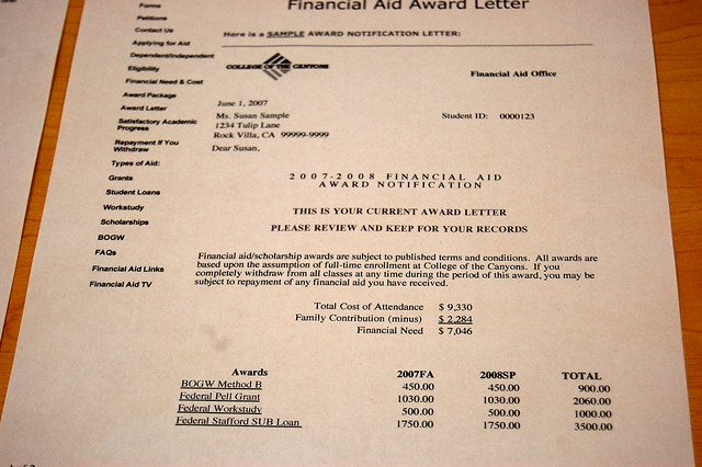 Financial aid award letters | Flickr - Photo Sharing!