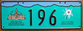 N.P.C.C. 2000 15TH ANNUAL NORTH AMERICAN MEET souvenir license plate