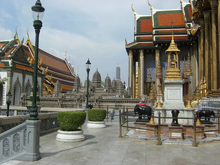 Image of  Temple of the Emerald Buddha  near  Bangkok. bangkok watphrakaeo
