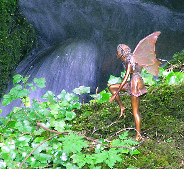 Fairy by the waterfall flickr photo sharing for Fairy garden waterfall