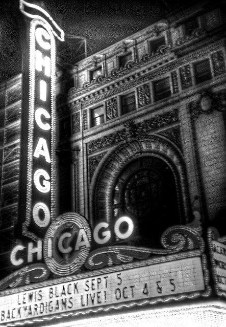 Chicago Theatre marquee in black and white, shot with holga 135