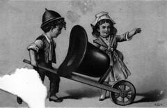 Boy - Girl - Hat - Wheelbarrow