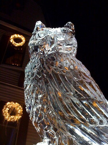 Owl ice sculpture