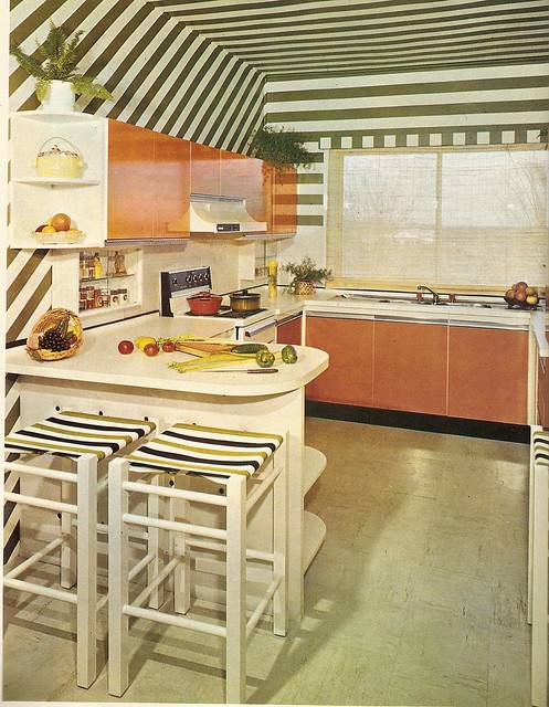 Orange and Green Kitchen.