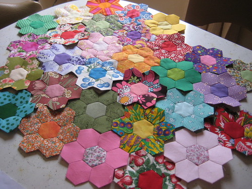 30 Hexagon Flowers, June 2008