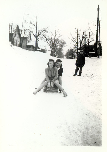 Holli and friend on sled 98