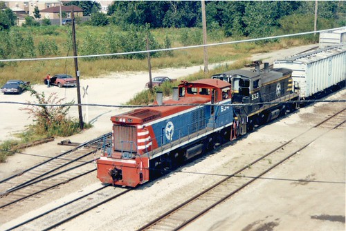 Westbound Belt Railway of Chicago transfer train approaching the South Kedzie Avenue overpass bridge. Chicago Ilinois. August 1987. by Eddie from Chicago