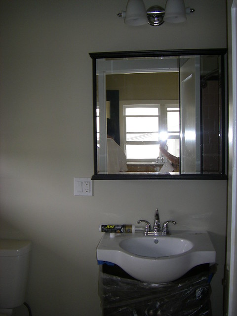 bathroom with new vanity medicine cabinet light fixtures flickr