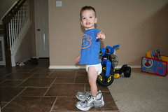 Trying on Mom's Running Shoes
