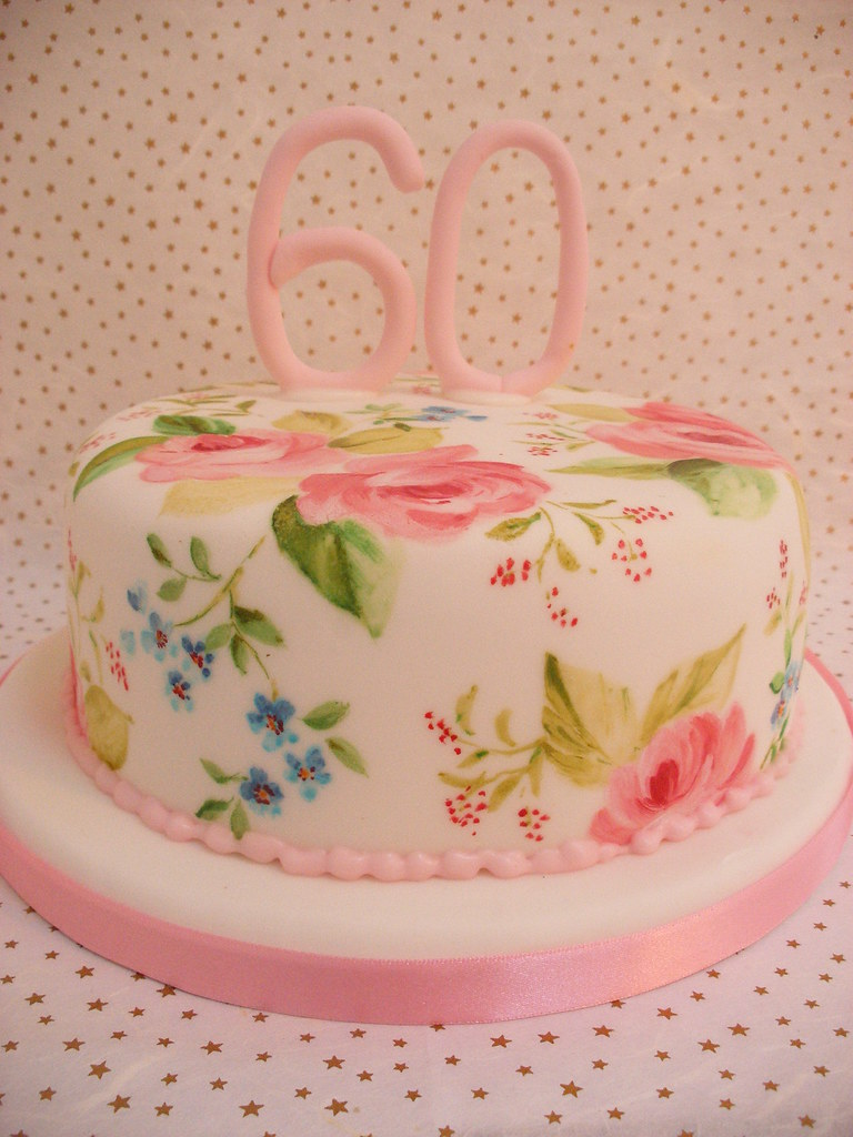 Painted 60th Birthday Cake