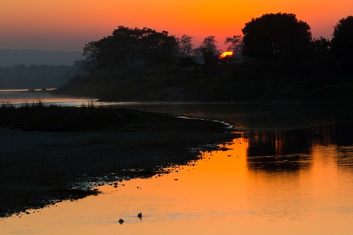 sunset nature river 日落 尼泊尔 奇特旺