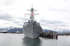 HOMER, Alaska (June 12, 2011) USS Decatur (DDG 73) sits docked in Homer, Alaska, before the start of Exercise Northern Edge '11. Decatur is an Arleigh Burke-class guided-missile destroyer, which has SPY radar on board to locate and track aircraft and missiles. (U.S. Marine Corps photo by Sgt. Deanne Hurla)