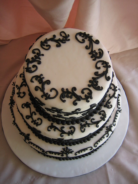 Black and White Scroll Wedding Cake Top View