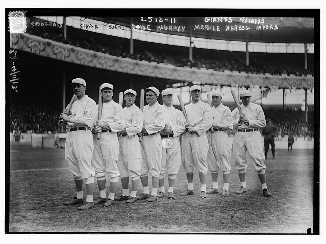 [New York Giants Opening Day line-up at the Polo Grounds [New York]. Left to right: Fred Snodgrass, Tillie Shafer, George Burns, Larry Doyle, Red Murray, Fred Merkle, Buck Herzog, Chief Meyers (baseball)]  (LOC)