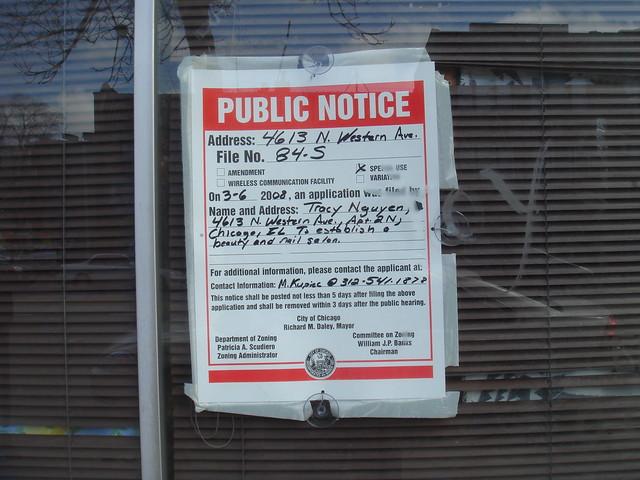 Public Notice re: Zoning, 4613 North Western