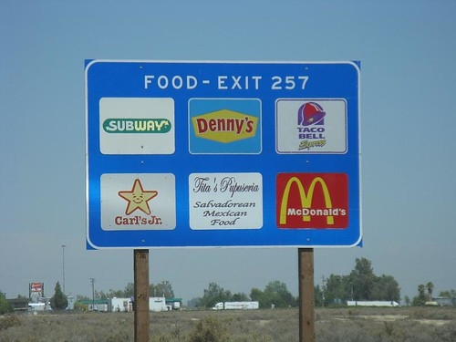 food exit 257 sign