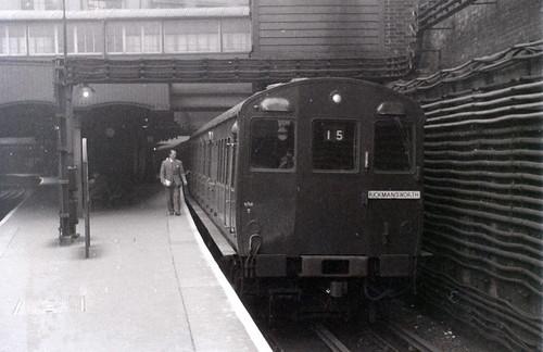 On the Metropolitan Line, Baker Street station, London, 25 October 1958