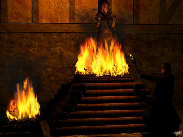 Hexenverbrennung Scheiterhaufen