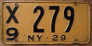 NEW YORK 1929 LICENSE PLATE