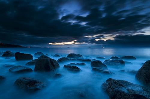 sea sky clouds scotland rocks fife estuary coastline gloaming kinghorn d300 slowwater