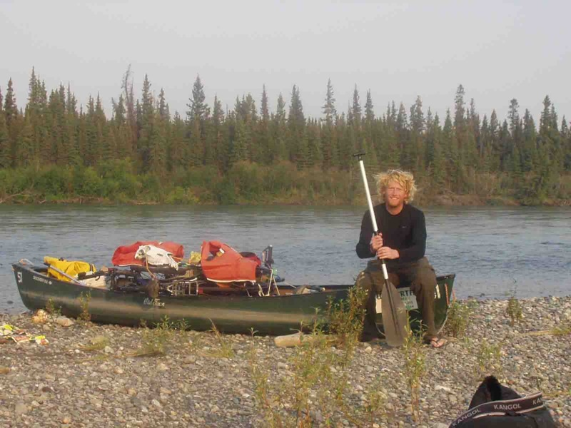 canoeing down the yukon