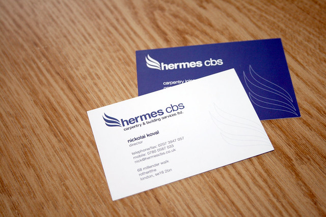 Hermes CBS,carpentry London, business card, logotype, stationary, identity, http://www.hermescbs.co.uk