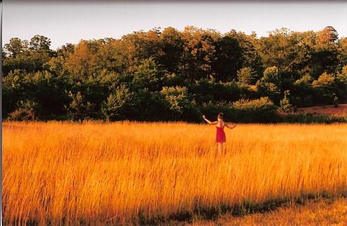 mountains film girl field grass 35mm gold dress pentax k1000 candid tall airstrip