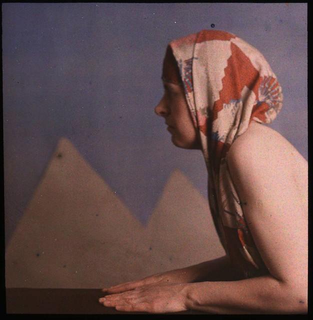 Woman posed as sphinx