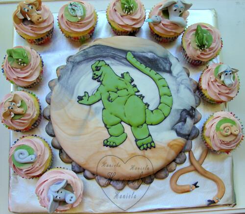 Godzilla Cake and Cupcakes