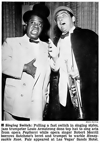 Louis Armstrong and Robert Merrill in Vegas - Jet Magazine, October 28, 1954
