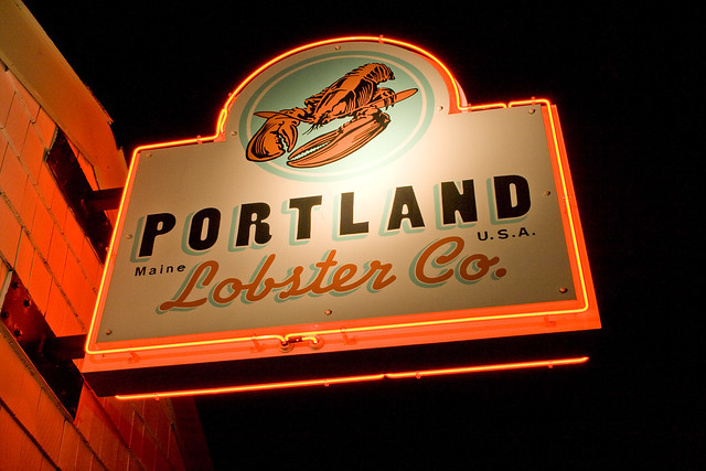 Neon sign at the Portland Lobster Company