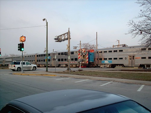 Two Metra express commuter trains meet at Harlem Avenue. Berwyn Illinois. January 2008. by Eddie from Chicago