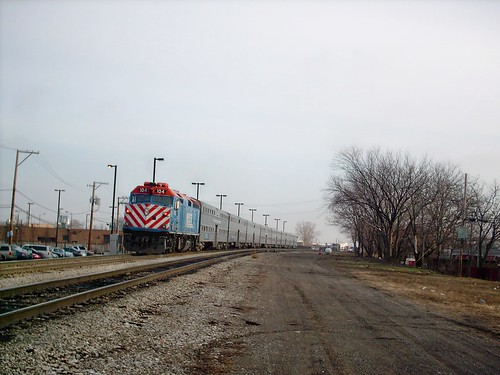 Eastbound Metra commuter local arriving at the Wrightwood station. Chicago Illinois. January 2008. by Eddie from Chicago