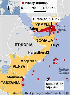Area of conflict between ships and Somalis who are demanding payment for the usage of the strategic waterways in the Gulf of Aden. by Pan-African News Wire File Photos