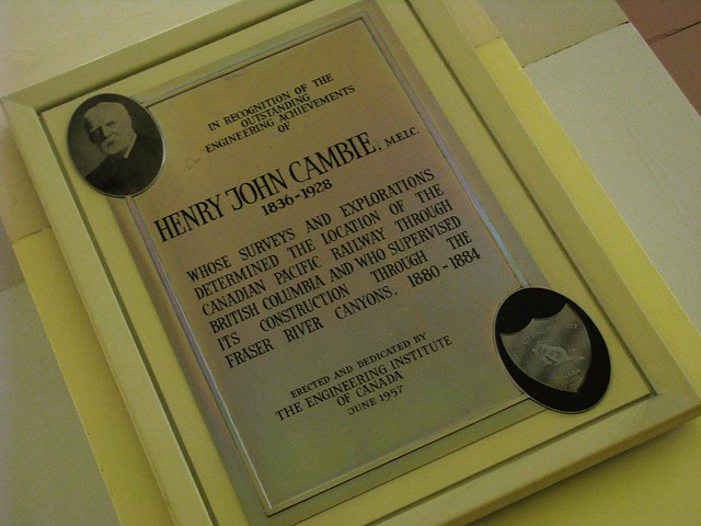 Henry John Cambie plaque in Waterfront Station