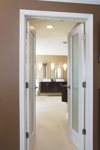 modern bathroom two sinks dark brown wood cabinets flickr photo