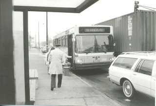 Southbound CTA Route # 52 Kedzie / California Avenue bus approaching the bus stop at the intersection of South Archer and Kedzie Avenues. Chicago Illinois. November 1989. by Eddie from Chicago