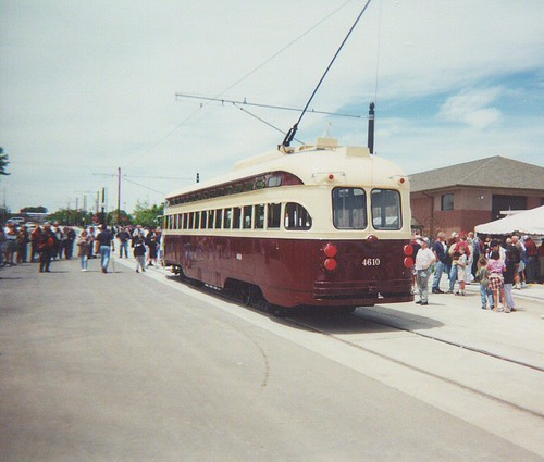 Kenosha Wisconsin car # 4610 near the carbarn before the ribbon cutting ceremony. Kenosha Wisconsin. Saturday, June 17th 2000. by Eddie from Chicago