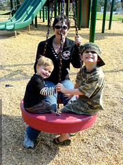 rachel and her boys on the tire swing   DSC01255
