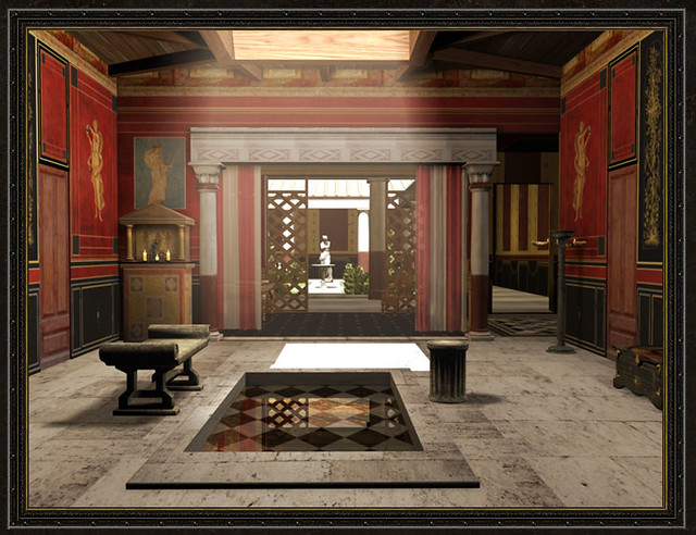 Roman domus atrium part of a larger reconstruction of a for Ancient roman interior decoration