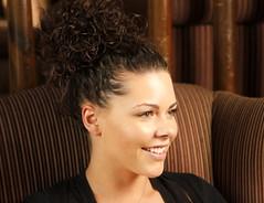 black hair, face, hairstyle, bun, hair, brown hair,
