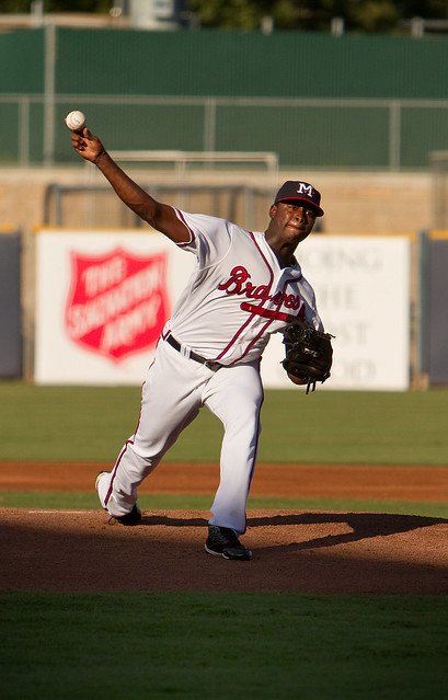 Mississippi Braves pitcher Arodys Vizcaino throwing in the mid 90s in the mid 90s heat