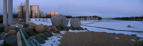 sculpture snow sunrise finland spring basin oulu levee