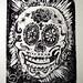Day of the Dead skull  lino cut block print by wickeddollz