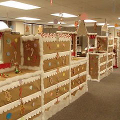 Candyland theme cubicles at work just b cause for Christmas party ideas for small office
