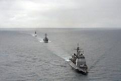 GULF OF ALASKA (June 17, 2011) Guided-missile cruiser USS Lake Erie (CG 70), front, guided-missile destroyer USS Decatur (DDG 73), and Coast Guard Cutter Bertholf, a national security cutter, transit the Gulf of Alaska in formation during exercise Northern Edge. (U.S. Coast Guard photo by Petty Officer 3rd Class Charly Hengen)
